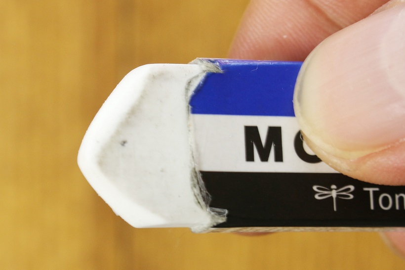 ↑リアルに筆者が使っているMONO smart。これぐらいの尖り具合が消しやすくていい