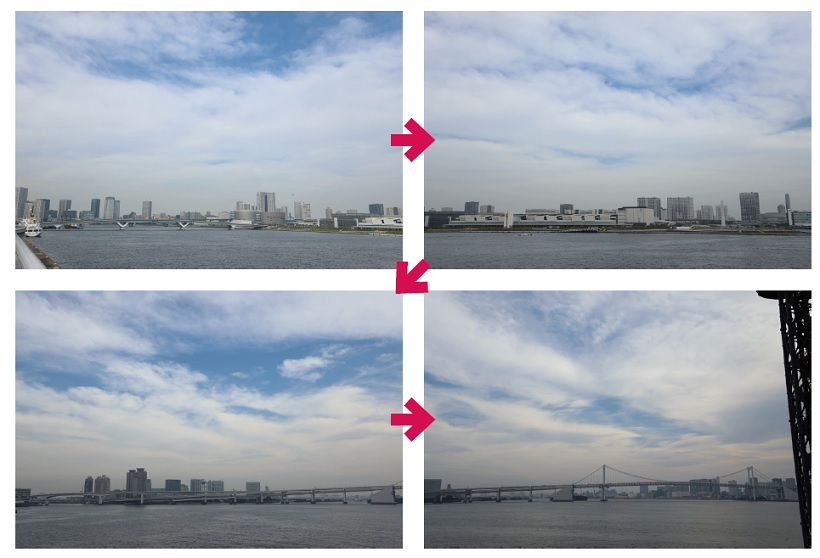 ↑パン撮影の例/撮影時間1.5時間、再生62秒。海辺の建物から雲の流れと船の動きをパンしながら撮影。1時間に90度ほど回るように赤道儀を設定し、1時間半で120度パンさせた。撮影時は、水平をしっかりとるのも大切だ