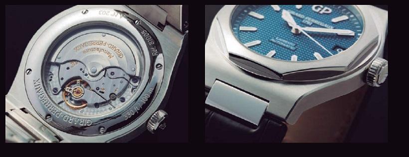 ↑42㎜に拡大したケースに合わせ、パワーリザーブ54時間を誇るインハウス・ムーブメントCal.GP01800を搭載(左)、ラグやループのないブレス一体型ケースの上に、鏡面仕上げの八角形ベゼルをセット(右)
