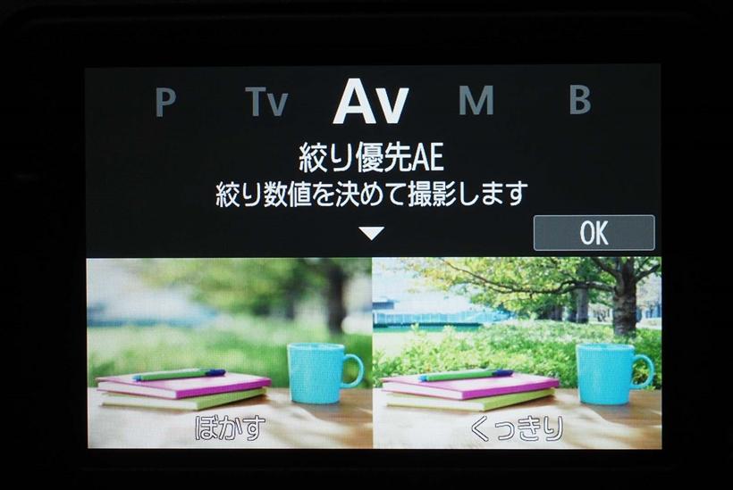 ↑撮影モードダイヤルを回すと、上には選択したモード(左右に隣接モード)が表示。そして、下には選択したモードの効果が写真で表示される
