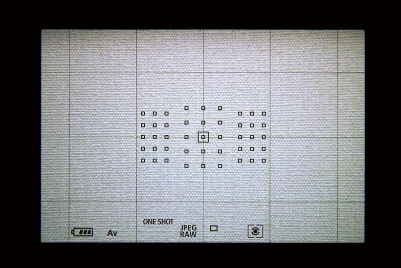 ↑ファインダー上には、45点ものAF測距点が高密度に配置されている。やや中央部に集まりすぎの感はあるが、密度が高く被写体を捕捉しやすい