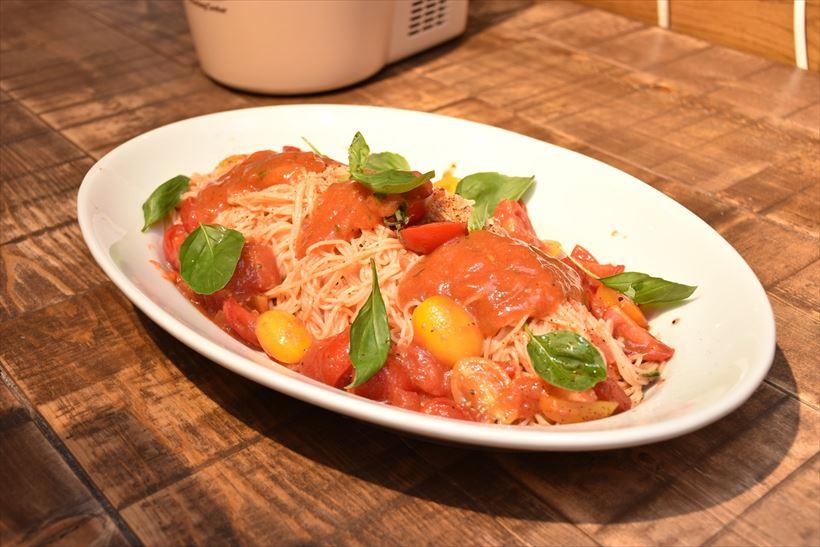 ↑こちらも発表会で試食した「冷製パスタトマトのジュレ添え」