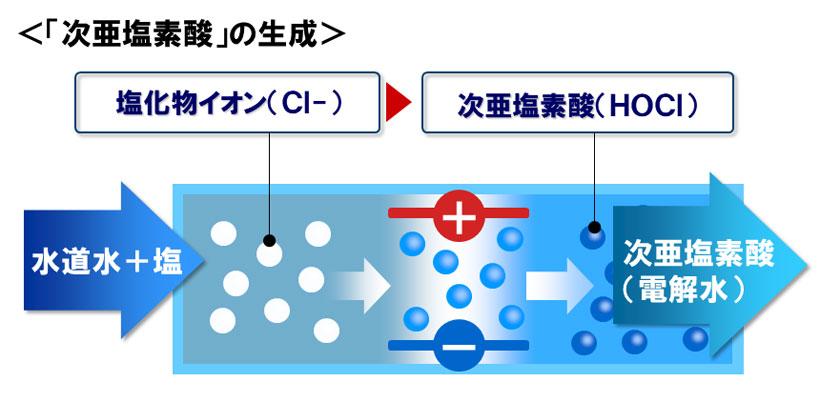 ↑次亜塩素酸の生成イメージ。水トレイに塩タブレットを入れて食潜水を作る。これを電気分解することで次亜塩素酸水が生成される