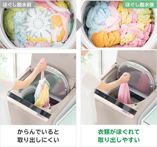 ↑ほぐし脱水は、脱水後、洗濯物がひとかたまりになるのを防いでくれます