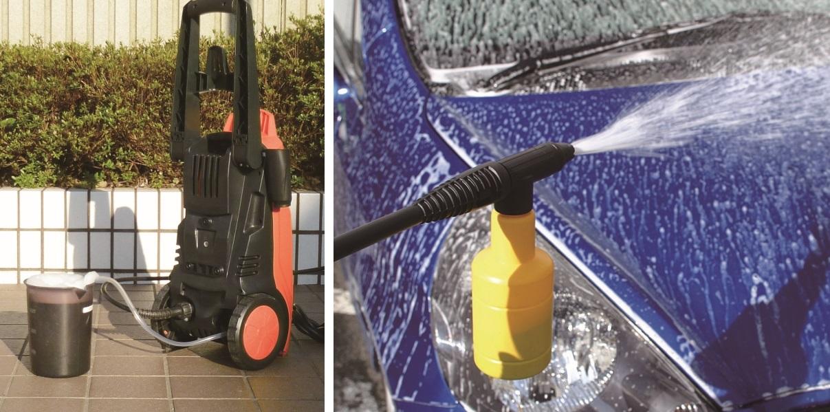 ↑洗剤吸い込みホースを使用したFIN-801EHG/WHG(左)、フォームランスを使用したFBN-601HG(右)