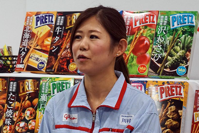 ↑川村さんは「全部おすすめですが、なかでも和ごころプリッツの『焼きおにぎり味』がお気に入り」とのこと