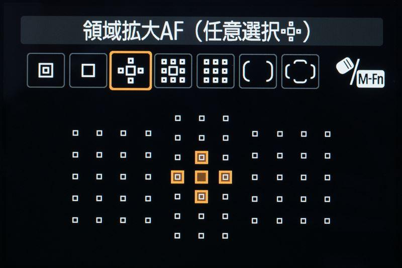 ↑キヤノンEOS 5DマークⅣの領域拡大AFの選択時の画面。使用する測距点は5点と9点の2種類から選ぶことが可能。ニコンのダイナミックAFなども同様の機能だ