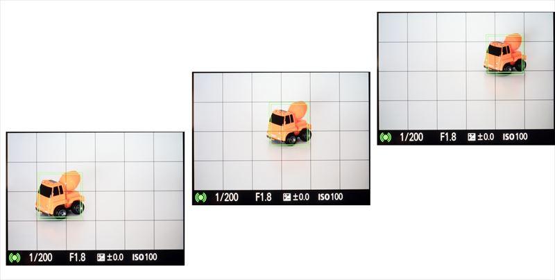 ↑追尾AFを使うと、画面内を横切る被写体に対して、測距点が自動で追従して移動。ピントを合わせ続けることができる。画面を横切る動きだけでなく不規則な動きにも対応できるので、フレーミングを先に決めて撮りたいときなどにも便利だ