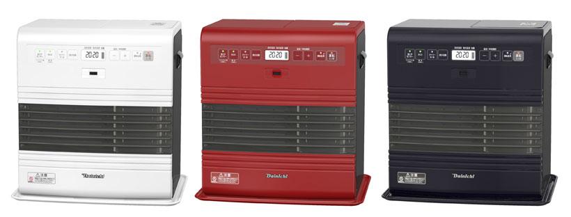↑FW-3717SDRはスノーホワイト(左)、オータムレッド(中)、コズミックブルー(右)の3色を用意 【SPEC】(FW-3717SDR)●サイズ/質量:W438×H445×D349/7.7kg●暖房の目安:木造(戸建)10畳まで、コンクリート(集合)13畳まで●タンク容量:9.0L●暖房出力:3.30~0.74kW●燃料消費量:0.360~0.072L/h●燃焼継続時間(大火力~小火力):25.0~125.0時間