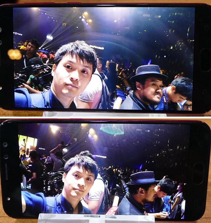 ↑インカメラでの通常と広角撮影の比較