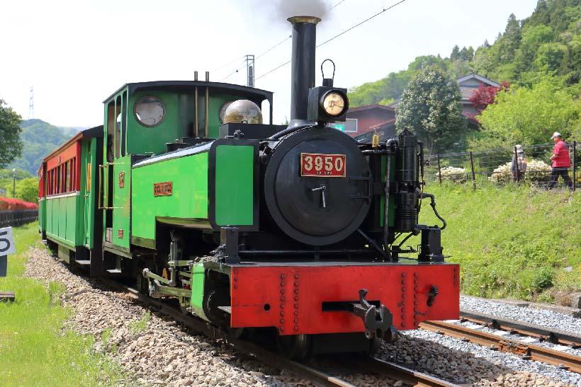 ↑園内を一周する「あぷとくん」。イギリスWinson社製の蒸気機関車「グリーンブリーズ」号が客車を引いて走る。料金は1回大人400円(中学生以上)、子ども200円