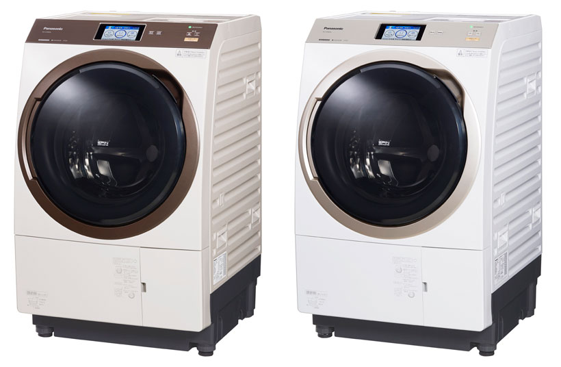 ↑左からノーブルシャンパン、クリスタルホワイト 【SPEC】●サイズ/質量:W600×D722×H1009 mm/79 kg●容量:洗濯・脱水 11.0 kg/乾燥6.0 kg●目安時間(約)(おまかせコース):洗濯時32分、洗濯乾燥時98分●消費電力量:洗濯時68 Wh、洗濯乾燥時890 Wh