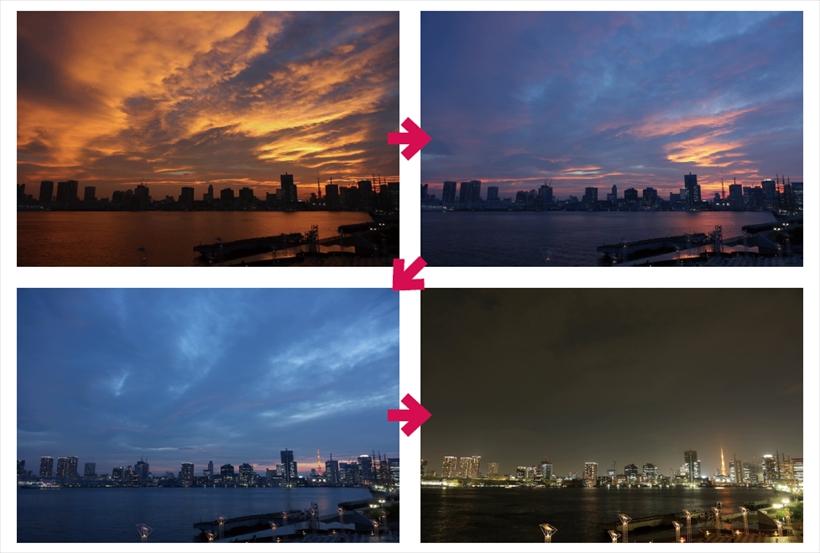 ↑夕景/撮影間隔15秒、撮影約2時間、再生50秒。見事な色の夕焼けになったので、その後の変化を撮ろうとタイムラプス撮影を行った。すると、少しづつ空が青く染まって行き、夜になっていった。ここでは、夜の時間帯も長めに撮って、街明かりの変化も加えて、約1分の動画にした
