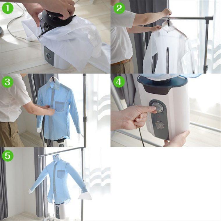 ↑基本的な使い方(1)乾燥機に乾燥バッグを取り付け、(2)手持ちのハンガーを乾燥バッグの内側から通して適当な場所に掛けます(3)そのまますぐに乾燥バッグに着させ、(4)「温風」に合わせタイマーをセット(5)温風が出て乾燥バッグが膨らむので、シワを伸ばしシャツを整えればあとは放っておくだけ