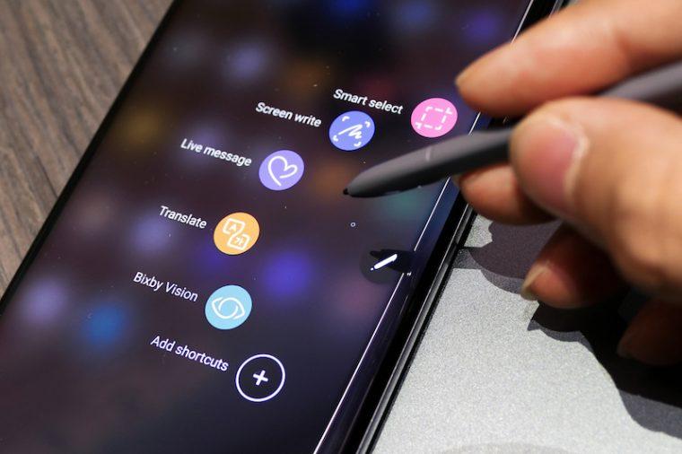 ↑S Penを取り出すと、アプリの一覧が表示される