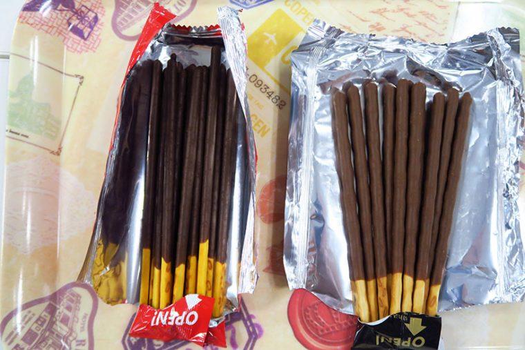 ↑左がポッキーチョコレート、右がポッキー<THE MILK>。新製品は少し軸が太くなっただけでなく、ウェーブ状なのもひと目でわかります