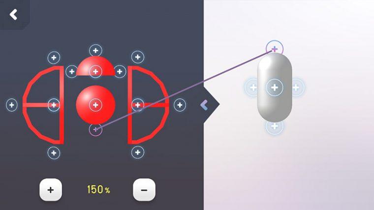 ↑「+」マーク同士をドッキングさせることでコアパーツ(右)にアクションパーツを装着することができます