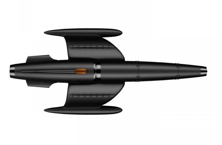 ↑宇宙船がモチーフのボールペン「ムーンファイター」