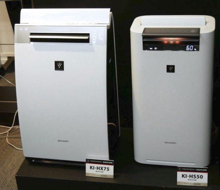 ↑左がKI-HX75。右は同時に発表された新商品KI-HS70で、COCORO AIRは非搭載