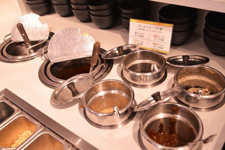 ↑ラーメンを好みの味で作ることもできます。お店によって異なりますが、醤油、味噌、塩、豚骨と種類も豊富