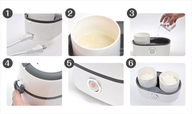 ↑基本的な使い方 (1) 電源ケーブルを接続して、コンセントにさします (2) といだ米を茶碗に入れて、水を入れます (3) 炊飯用の水を入れます (4) 蓋を締めてフックでロック (5) 電源スイッチを入れます (6) 約50分後、電源ランプが消えて炊飯終了、蒸らして完成です