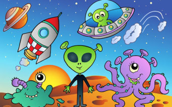 8528708 - various alien and space cartoons - vector illustration.