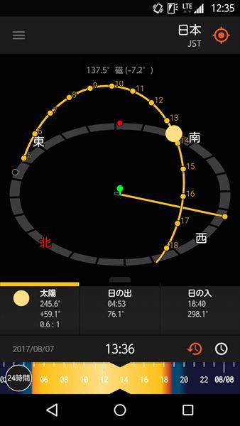↑「3Dコンパス」では、太陽や月の動きをコンパス上に表示。下段にある時間のスライダーは、24時間表示のほか、1時間表示や365日表示にも変更できる