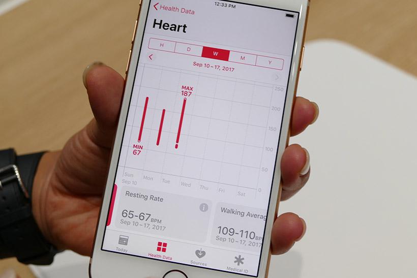 ↑ヘルスケアアプリの画面イメージ。安静時の平均心拍数が表示されている