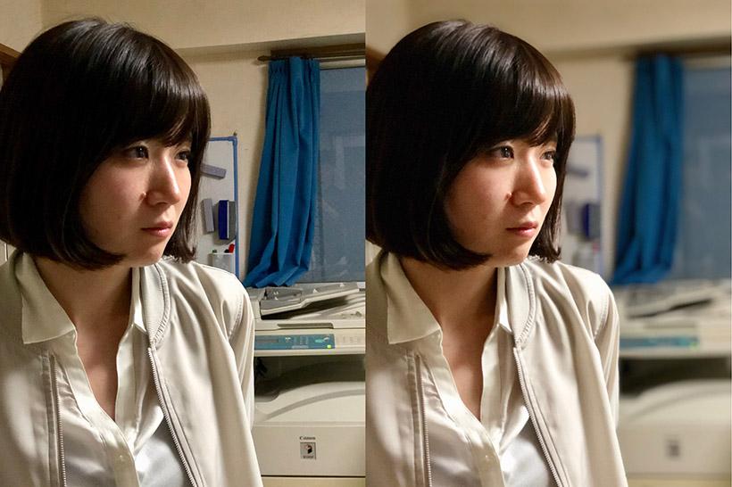 ↑ポートレイトライティングを使用した作例。左は「ポートレート」をオフにし、「自然光」を選択。右は「ポートレート」をオンにし、「スタジオ照明」を選択した状態。ライティングに注目すると、右の方が、被写体はより明るく映っているのがわかる