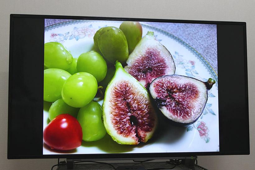 ↑iPhone 8で撮影した写真を大画面で表示