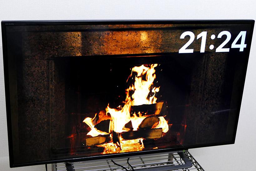 ↑アプリ「Fireplace 4K」を試した。美しい画面はインテリアとしても存在感がでる