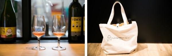 (左)試飲もできます。20㎖100円〜 (右)ワイン用のポケット付きのオリジナルトートは1600円