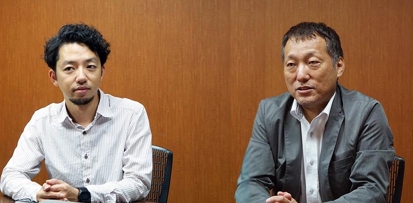 ↑ティアックの寺井翔太さん(左)、