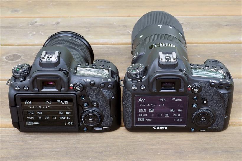 ↑一部のボタン位置にわずかな差はあるが、とてもよく似たEOS 6DマークⅡ(左)とEOS 6D(右)の背面。上面も同様。だから、EOS 6Dユーザーなら違和感なく操作できるだろう