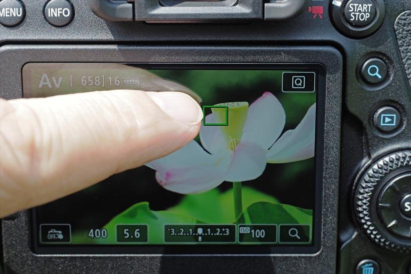 ↑画面にタッチするだけで、素早くピント位置を選択できるタッチパネル機能を採用。静止画撮影時には、タッチでピントを合わせると同時にシャッターを切ること(タッチシャッター)も可能