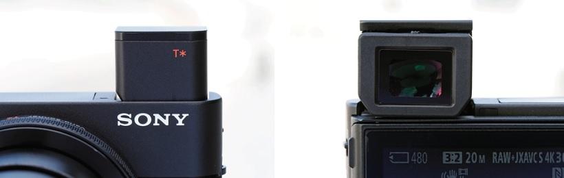 ↑RX100M5のEVF。ポップアップ式で、デザインに影響を与えていない点は見事。ただし、EVF使用時は、ポップアップ後に接眼部を引き出すという一手間がかかる