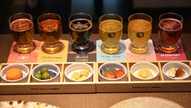 ↑6種の定番ビールと、それにマッチするフードで気軽にペアリングを試せるセット(2300円)は京都店にも健在!