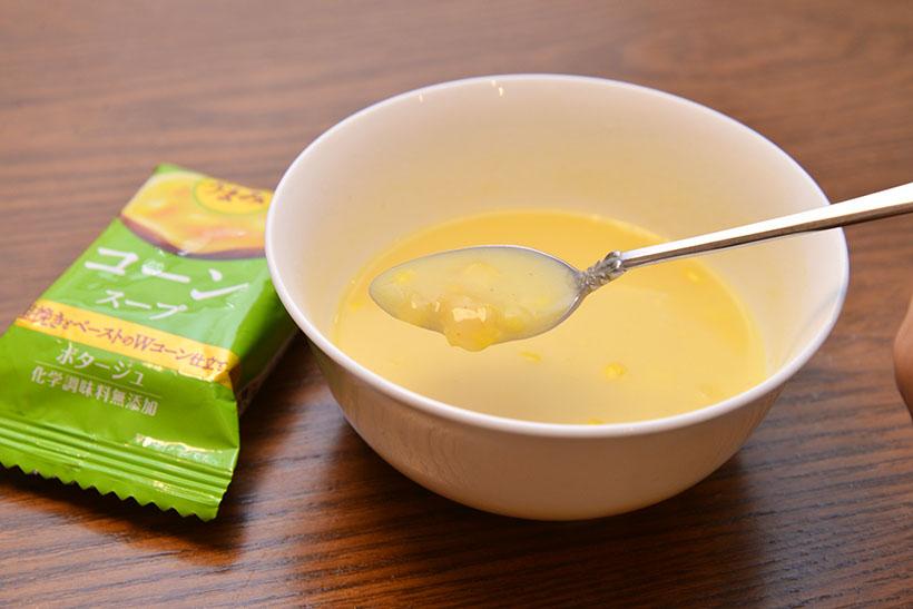 ↑粗く刻まれたコーンの食感が楽しい! さらにチーズでコク深さをプラスしています