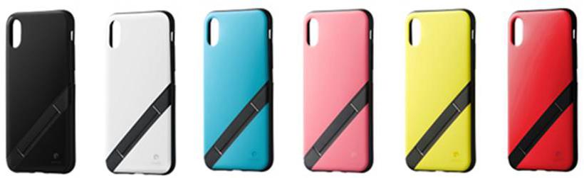 ↑ソフトバンクセレクション「INVOL Stand for iPhone X」 ブラック、ホワイト、シアンブルー、コーラルピンク、レモンイエロー、ブライトレッドの6色展開