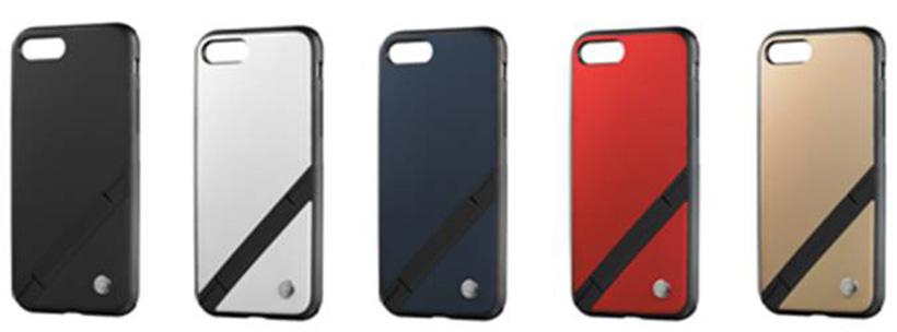 ↑ソフトバンクセレクション「INVOL Stand for iPhone 8/7」 ブラック、ホワイト、ネイビー、レッド、ゴールドの5色展開。実売価格は4104円