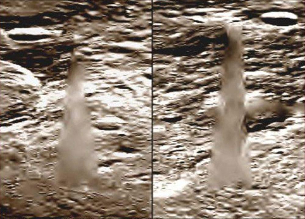 探査機クレメンタインが捉えたクリスタルタワー。画像にはNASAによる加工の形跡が認められるという。(その2)