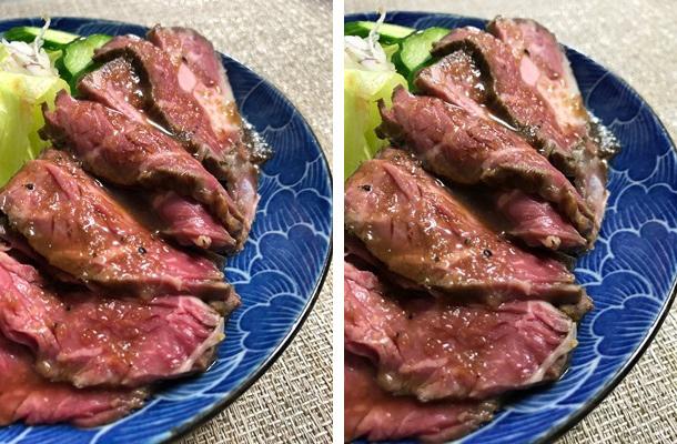 ローストビーフを撮り比べてみると、左では肉のつややかさと赤みが際立っているのがわかります。(左が8 Plus、右が7)