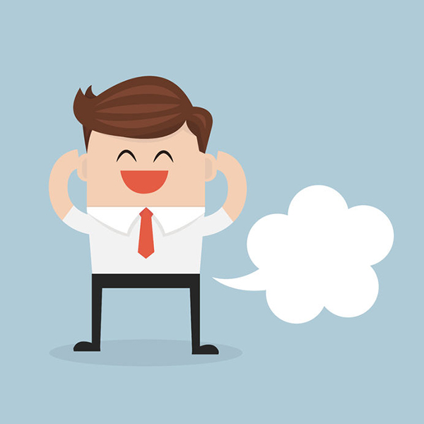 49686069 - businessman farting with blank balloon out from his bottom, flat design. vector