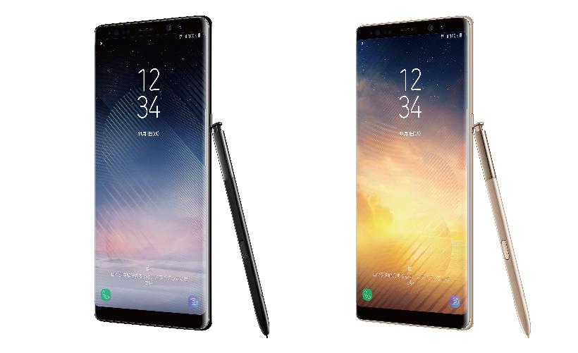 ↑「Galaxy Note8 SCV37」。端末価格は11万8800円(一括)。カラーはミッドナイト ブラックとメープル ゴールド