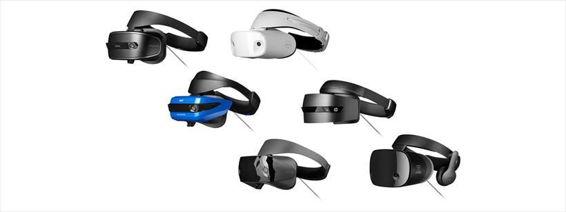 ↑エイサー、ASUS、Dell、HP、レノボ、サムスンなどがWindows Mixed Reality対応ヘッドセットを発売。サムスン製のみ視野角が110度と広く、ヘッドフォンを内蔵していますが、そのほかの基本スペックは変わりません