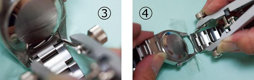 あとは刃先をラグの内側からバネ棒の肩部分に差し込んで、本体を軽く握るだけ(写真③)。刃先がスライドして簡単にバネ棒が左右ともはずれるので、本体を握ったままそっとブレスやベルトを引き抜いていきます(写真④)。取り付けの際は、逆の手順で行います。