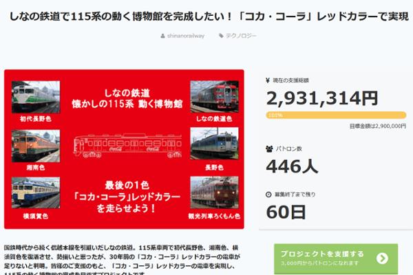 出典画像:「しなの鉄道で115系の動く博物館を完成したい!「コカ・コーラ」レッドカラーで実現」CAMPFIRE サイトより