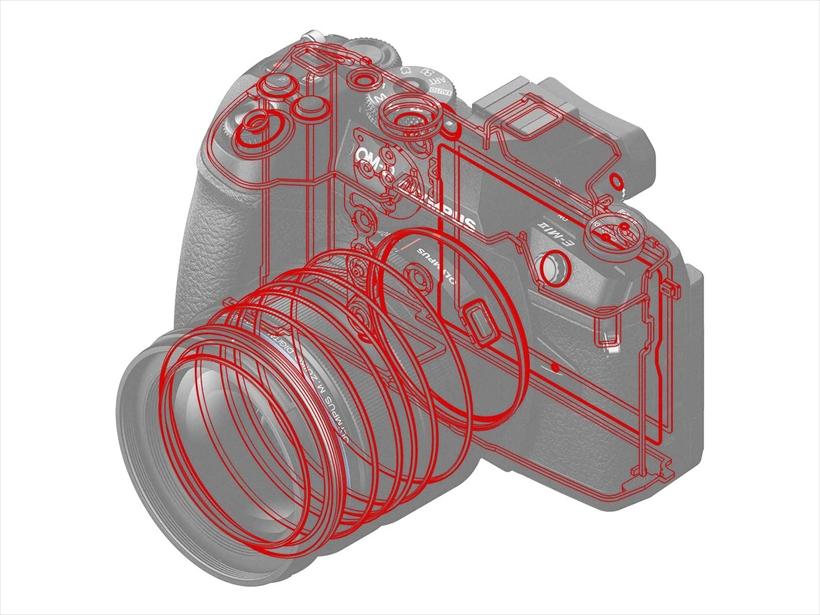 ↑赤い線で示されているのがシーリングされた部分。ボディの気密性が高く、対応レンズを使えば、多少の水なら気にせず撮影可能だ