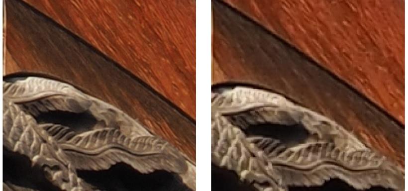↑ハイレゾショットは、センサー位置をごくわずかに動かして高画素の画像を生成するため、撮影には三脚が必要だ。被写体の動きには強くなってはいるが、動いた部分の解像が低下することもあるので、動かない被写体が向いている。ハイレゾショット使用(左)と通常撮影(右)を比較すると、約5000万画素となる左の写真のほうが、細かい部分まで描写されているのがわかる