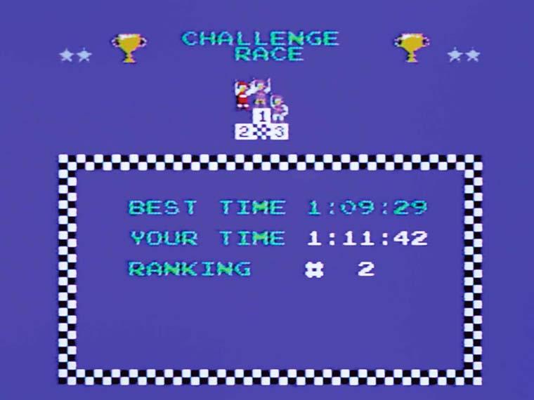 ↑CPUとの直接的な競争ではなく、「1位:1分10秒」など、コースごとに決められたタイムを切ればOK